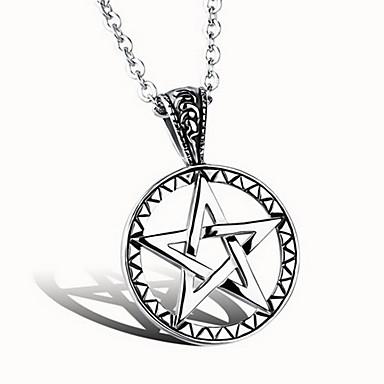 للرجال تعليقات Star Shape الفولاذ المقاوم للصدأ الصلب التيتانيوم تصميم بسيط موضة مجوهرات من أجل يوميا فضفاض