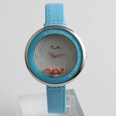 Bayanların Elbise Saat Moda Saat Quartz / PU Bant Çiçekli Günlük Mavi AçıkMavi