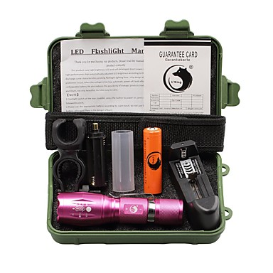 U'King LED Flashlights LED 2000 lm 5 طريقة Cree XM-L T6 مع البطارية والشاحن زوومابلي Adjustable Focus قصاصة Camping/Hiking/Caving