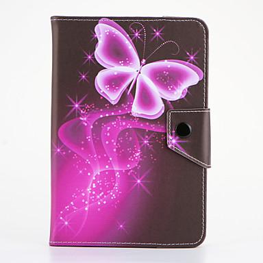 Etui Käyttötarkoitus Samsung Galaxy Tuella Flip Kuvio Suojakuori Perhonen Kova PU-nahka varten Tab 4 7.0 Tab 3 7.0 Tab 2 7.0 Tab A 7.0