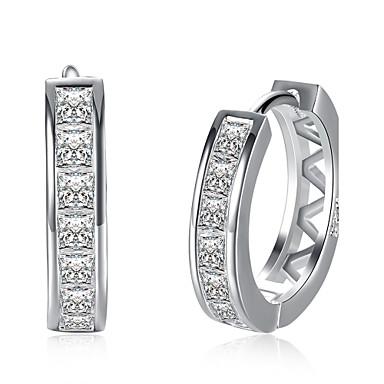 Kolczyki koła Kolczyk Cyrkonia Luksusowy minimalistyczny styl Cyrkon Miedź Posrebrzany Imitacja diamentu Circle Shape Biżuteria Silver