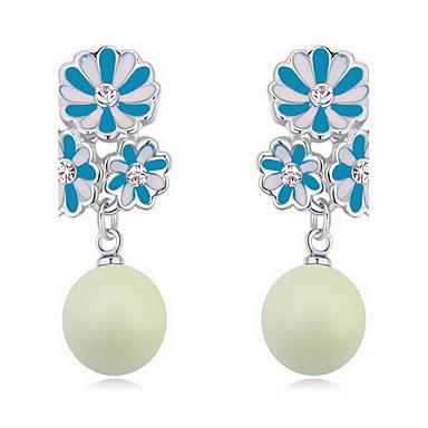 نساء أقراط الزر كريستال لؤلؤ الطبيعة النمسا، البلورة سبيكة مجوهرات مجوهرات من أجل يوميا