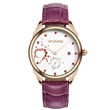 Kadın's Moda Saat Quartz İsviçre Tasarımcı Gerçek Deri Bant Beyaz Kırmızı Mor