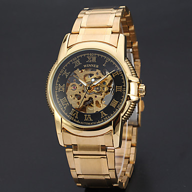 Erkek Spor Saat Elbise Saat İskelet Saat Moda Saat Bilek Saati mekanik izle Otomatik kendi hareketli Alaşım Bant İhtişam Günlük Çok-Renkli