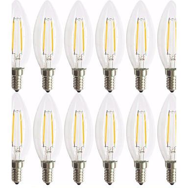 12kpl 2W 180 lm E14 LED-hehkulamput C35 2 ledit COB Koristeltu Lämmin valkoinen AC 220-240V