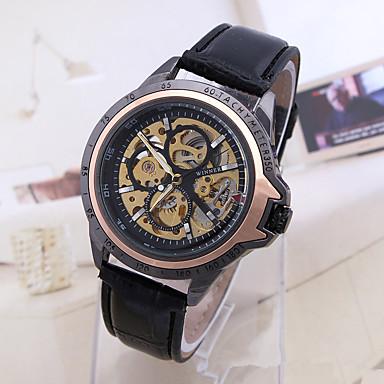Męskie zegarek mechaniczny Zegarek na nadgarstek Szkieletowy Do sukni/garnituru Modny Sportowy Nakręcanie automatyczne Skóra naturalna