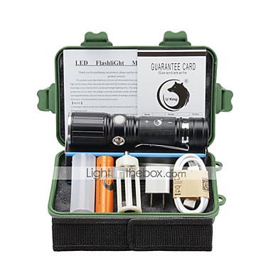 U'King Latarki LED LED 2000 lm 3 Tryb Cree XM-L T6 z baterią i adapterem Zoomable Regulacja promienia Zatrzask Obóz/wycieczka/alpinizm