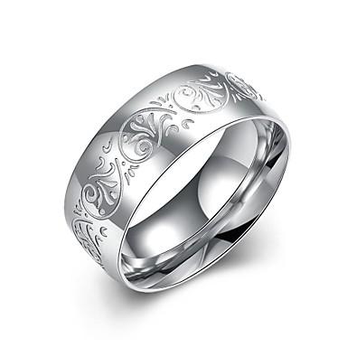 خاتم فضي الفولاذ المقاوم للصدأ تصفيح بطلاء الفضة يوميا فضفاض مجوهرات