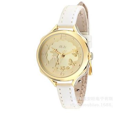 Kadın's Moda Saat Quartz / Deri Bant Günlük Beyaz Altın Rengi Pembe