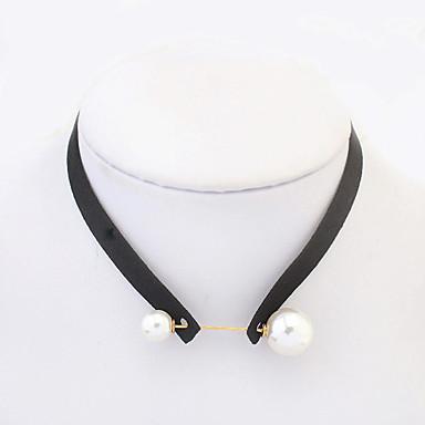Pentru femei Rotund Geometric Shape Stil Tatuaj Modă European Coliere Choker tatuaj cravată Perle Imitație de Perle Catifea Coliere