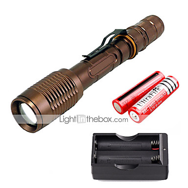 U'King LED Flashlights LED 2000 lm 5 طريقة Cree XM-L T6 مع البطاريات والشاحن زوومابلي Adjustable Focus Camping/Hiking/Caving Everyday Use