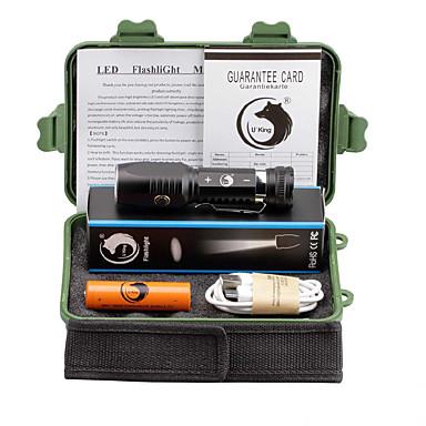 U'King LED Flashlights LED 2000 lm 3 1 طريقة Cree XM-L T6 مع البطارية Adjustable Focus قابلة لإعادة الشحن قصاصة Camping/Hiking/Caving