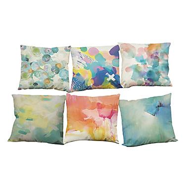 6 szt Bielizna Poszewka na poduszkę Pokrywa Pillow, Jendolity kolor Geometryczny Textured Styl plażowy Wałek Tradycyjny / Classic