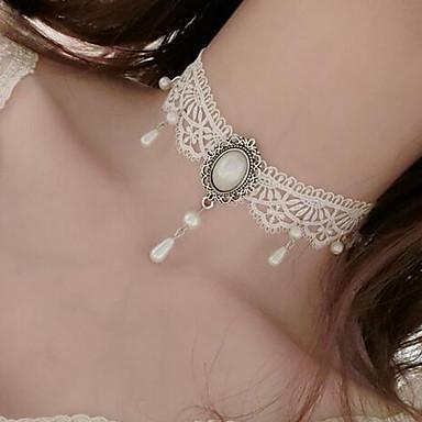 Pentru femei Floare Floral Stil Tatuaj Stil Atârnat Coliere Choker Imitație de Perle Imitație de Perle Dantelă Coliere Choker . Nuntă