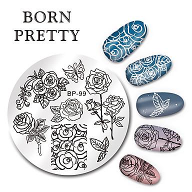 Γεννήθηκε αρκετά στρογγυλό καρφί τέχνης πλάκες σφράγιση σφραγίδα πλάκα σχεδιασμό πρότυπο πεταλούδα λουλούδι εικόνα σύνολο 5,5 εκατοστά