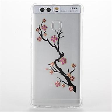 Pouzdro Uyumluluk Huawei Şoka Dayanıklı Şeffaf Temalı Arka Kılıf Çiçek Yumuşak TPU için Huawei P9 Huawei P9 Lite Huawei P8 Lite