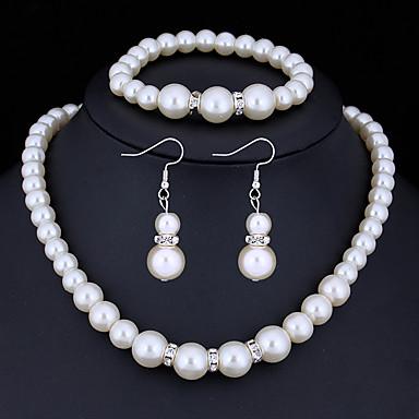 Damskie Kryształ Biżuteria Ustaw - Imitacja pereł, Kryształ górski Podstawowy Zawierać White Na Prezenty bożonarodzeniowe / Ślub / Impreza