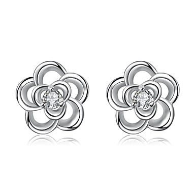 Kadın's Vidali Küpeler Kristal Çiçek Çiçek Stili Çiçekler Gümüş Kaplama Çiçek Mücevher Düğün Parti Günlük Kostüm takısı
