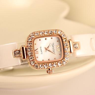 Damskie Modny Sztuczny Diamant Zegarek Kwarcowy Stop Pasmo Różowe złoto