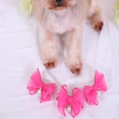 Pisici Câine Accesorii Păr Îmbrăcăminte Câini Draguț Nuntă Casul/Zilnic Modă Anul Nou Perlă Fucsia Albastru Roz Costume Pentru animale de