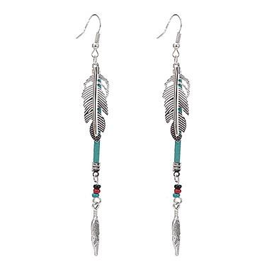 Damla Küpeler Mücevher Eşsiz Tasarım Bohemia Stili Kristal İmitasyon İnci alaşım Kanatlar / Tüy Gümüş Mücevher IçinParti Özel Anlar