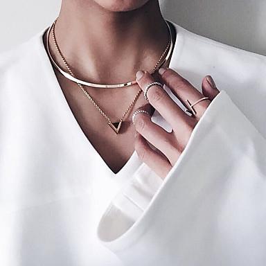 Dame Kort halskæde Vedhæng Geometrisk Hængende Mode Euro-Amerikansk Legering Guld Halskæder Smykker Til Fest Speciel Lejlighed Forretning Daglig Afslappet Office & Karriere