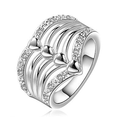 للمرأة خاتم مكعب زركونيا فضي زركون نحاس تصفيح بطلاء الفضة سبيكة Geometric Shape مخصص هندسي تصميم فريد قديم حجر الراين أساسي الصداقة