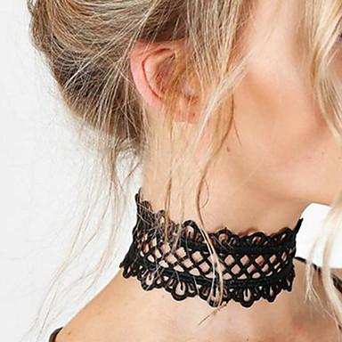للمرأة وردة دانتيل قلادات ضيقة  -  تصميم فريد أساسي موضة أبيض أسود قلادة من أجل زفاف حزب مناسبة خاصة