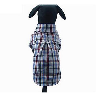 Köpek Tişört Köpek Giyimi Sevimli Günlük/Sade Kareli Kahverengi Açık Mavi