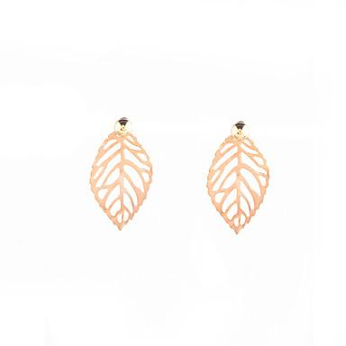 للمرأة أقراط الزر - Leaf Shape مخصص, تصميم فريد, euramerican في ذهبي / فضي من أجل يوميا / فضفاض