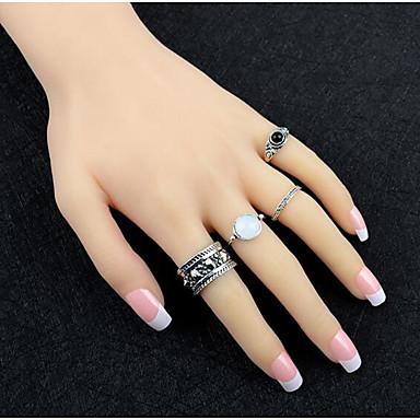 Pierścionki na palec środkowy Postarzane Stop Gold Silver Biżuteria Na Codzienny 1set