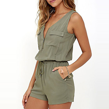 cheap Jumpsuits & Rompers-Women's Daily / Going out V Neck Green Romper, Solid Colored Sleeveless Summer