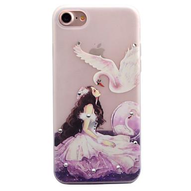Pouzdro Uyumluluk Apple Taşlı Karanlıkta Parlayan Buzlu Yarı Saydam Temalı Arka Kılıf Seksi Kadın Yumuşak TPU için iPhone 7 Plus iPhone 7