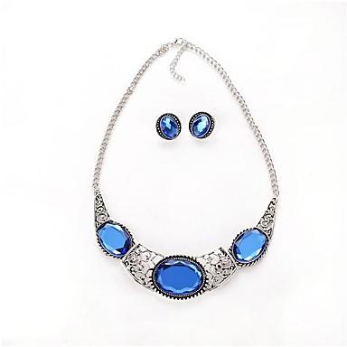 Damskie Zestawy biżuterii Syntetyczny Sapphire Modny Impreza Codzienny Casual Akrylowy Stop Owalny 1 Naszyjnik 1 parę kolczyków
