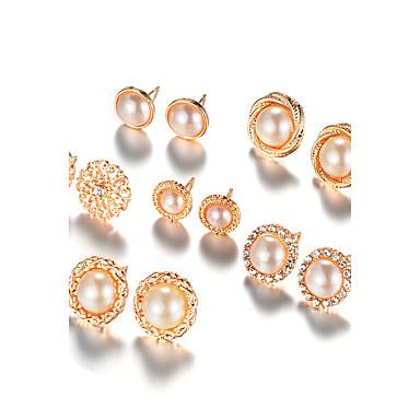 للمرأة أقراط الزر لؤلؤ تقليدي موضة euramerican في والمجوهرات سبيكة Round Shape مجوهرات من أجل يوميا