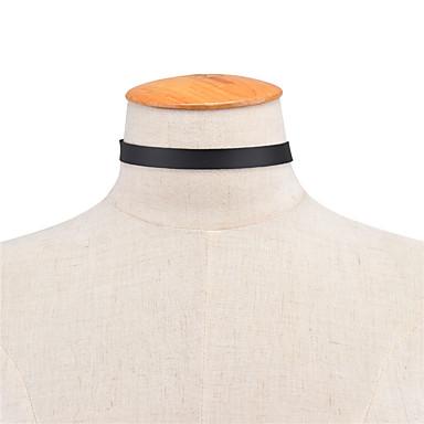 للمرأة جلد قلادات ضيقة  -  مخصص euramerican في موضة ستراند واحد أسود قلادة من أجل يوميا فضفاض