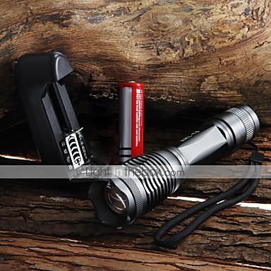 UltraFire LED Fenerler LED 2000 lm 5 Işıtma Modu Pil ve Şarj Aleti ile Zoomable / Su Geçirmez / Ayarlanabilir Fokus Kamp / Yürüyüş / Mağaracılık / Günlük Kullanım / Bisiklete biniciliği Siyah