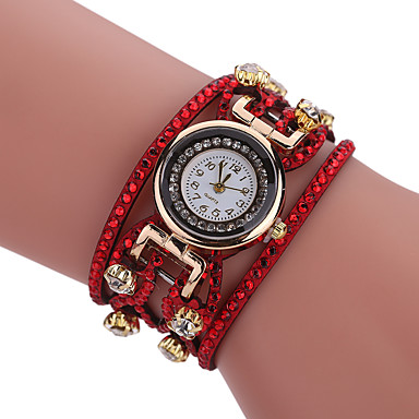 Bayanların Bilezik Saat Quartz Alaşım Bant Günlük Siyah Beyaz Mavi Kırmızı Turuncu Kahverengi Pembe Sarı DonanmaFuşya Kahverengi Kırmzı