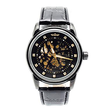 Erkek Spor Saat Moda Saat mekanik izle Quartz Gerçek Deri Bant Günlük Siyah Kahverengi Gümüş Siyah ve Altın Siyah/Beyaz Altın / Beyaz