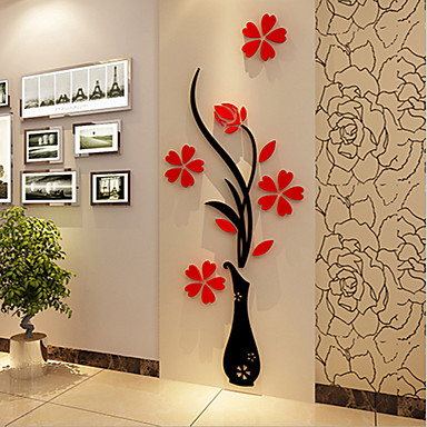 abordables Mural-Navidad Romance Florales Pegatinas de pared Calcomanías 3D para Pared Calcomanías Decorativas de Pared,Vinilo Material Decoración hogareña