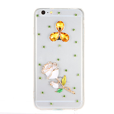 Varten Paljetti Läpinäkyvä Etui Takakuori Etui Kiiltävä Kukka Kova PC varten AppleiPhone 7 Plus iPhone 7 iPhone 6s Plus iPhone 6 Plus