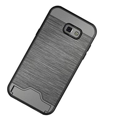 Pouzdro Uyumluluk Samsung Galaxy A5(2017) A3(2017) Kart Tutucu Şoka Dayanıklı Satandlı Arka Kılıf Tek Renk Sert PC için A3 (2017) A5