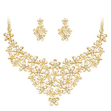 Damskie Biżuteria Ustaw - Kryształ górski, Pozłacane Kwiat Klasyczny, Modny Zawierać Gold Na Ślub / Impreza / Specjalne okazje
