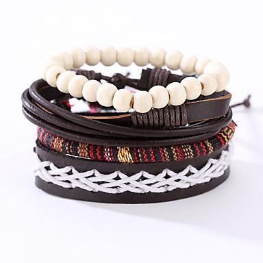 للرجال جلد أساور من الجلد - قديم بانغك دائري أسود سوار من أجل هدايا عيد الميلاد الذكرى السنوية عيد ميلاد