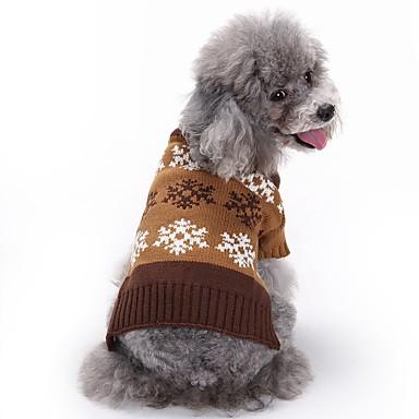 Γάτα Σκύλος Παλτά Πουλόβερ Χριστούγεννα Ρούχα για σκύλους Χαριτωμένο Μοντέρνα Χιονονιφάδα Γκρίζο Καφέ Στολές Για κατοικίδια
