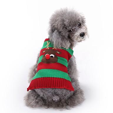 Kissat Koirat Neulepaidat Koiran vaatteet Talvi Poro Söpö Muoti Joulu Punainen Vihreä Sininen Valkoinen/musta
