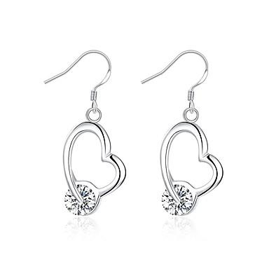 Damskie Dla dziewczynek Kolczyki zwisają Kryształ Modny Posrebrzany Heart Shape Biżuteria Na Ślub Impreza Codzienny Casual