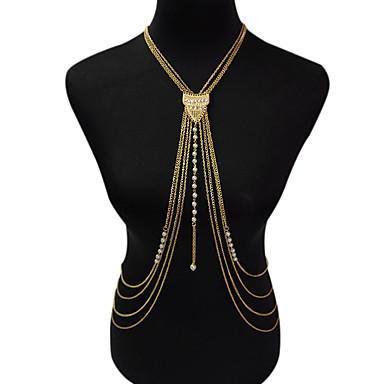 نساء مجوهرات الجسم سلسلة الجسم / سلسلة البطن موضة عتيقة نمط بوهيميا لؤلؤ تقليدي سبيكة Geometric Shape ذهبي مجوهرات إلىحزب مناسبة خاصة