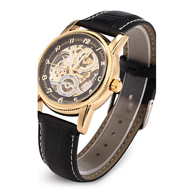 Men's Automatic self-winding Mechanical Watch / Wrist Watch Japanese Hollow Engraving PU Band Luxury Black