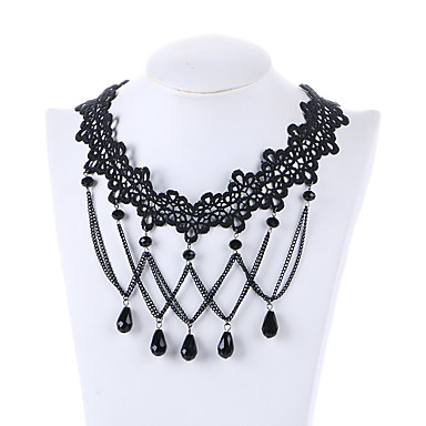 Damskie Naszyjniki choker Kryształ Żywica Unikalny euroamerykańskiej Osobiste Black Biżuteria Na Ślub Impreza 1szt